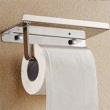 Suporte do tecido de banheiro com papel higiénico da prateleira do armazenamento do telefone móvel