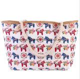 新しい女性のショルダー・バッグの女性印刷の大きいキャンバス浜袋