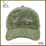 Green Embroidery Suede Dad Hat com alça de couro