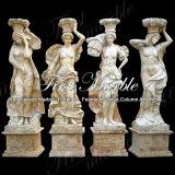 Escultura de cuatro estaciones Mano-Tallada del travertino de oro para la decoración casera Ms-1004