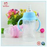 Бутылка голубого и розового широкого молока шеи пластичного подавая с двойными ручками