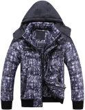 Homens nova moda casaco de inverno impresso roupas com costas acolchoadas
