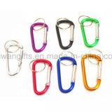 Mousqueton coloré de promotion de l'aluminium trousseau de clés, mousqueton avec porte-clés