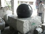 Em granito preto polido esfera esfera rolante Fountain, Fonte de Globo de pedra com a base