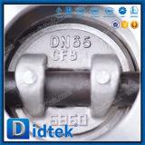 Tipo inferior válvula de la oblea de la fricción de Didtek de mariposa del engranaje de gusano