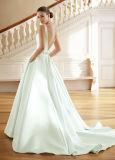深いV首の花嫁のプロムの服青のサテンのウェディングドレスLb181210