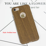 iPhone 8 Samsung S8のための柔らかい木の革電話箱