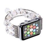 方法ハンドメイドの伸縮性がある真珠のAppleの腕時計のための自然な石造りのブレスレットの置換の女性の女の子のIwatchストラップバンド