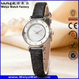 Reloj de la mujer del cuarzo de la correa de cuero de la manera OEM/ODM (Wy-094E)