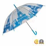 طبع مظلة شفّافة مع [إيفّل توور], [بو] مظلة مادّيّة مستقيمة