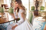 Amelie 바위 같은 균열 바닷가 긴 소매 신부 드레스를 가진 시퐁 결혼 예복