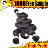 Produits malaisiens de cheveux humains du tissage de corps