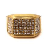 Accesorios de moda de Bodas de Oro joyas de diamantes anillo de acero inoxidable