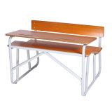 Benchs를 가진 Sencondary 학교 오래된 나무로 되는 책상 및 의자 /Classroom 가구 두 배 책상