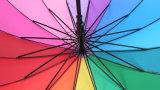 Le meilleur parapluie multicolore de vente d'arc-en-ciel en bois 16K