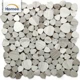 Mosaico di marmo di legno grigio rotondo di mosaico della bolla Waterjet delle mattonelle per i precedenti della barra
