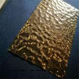 Цвет золота листа нержавеющей стали отделки до блеска волны воды