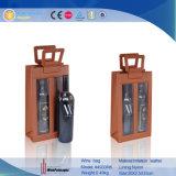 Cuir personnalisé livre deux bouteilles de vin en forme de boîte de rangement (4933)