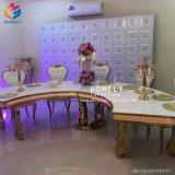 Miroir de mariage en verre de table à manger ronde en acier inoxydable/ Half-Moon