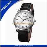 Relógio atrativo de quartzo com a faixa do couro genuíno