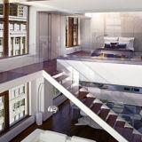 純木のL形のガラスステアケースデザイン