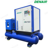 Todo el compresor de aire de tornillo rotativo integrado con el receptor y el secador