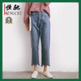 Nuevas señoras de la manera de la alta cintura que restauran los pantalones vaqueros del dril de algodón