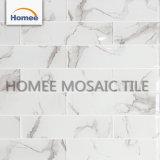 台所装飾チップ75X300mm芸術の白いガラスモザイク・タイル