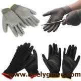 Guantes inconsútiles del poliester del Knit con el guante revestido negro de la PU