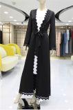 Mode vêtement islamique noir robe dentelle Hollow Out avant ouverte musulman Cardigan Abaya enduire