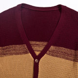 方法デザイン綿Vの首のしまのあるセーターのカーディガン
