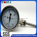 Termometro bimetallico dell'acciaio inossidabile con collegamento posteriore o inferiore o universale