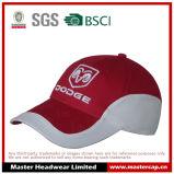 Gorra de béisbol roja 100% del bordado blanco del algodón para los adultos