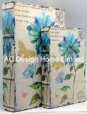 S/2 bonito diseño floral de cuero de PU/madera MDF Cuadro de la libreta de almacenamiento de impresión