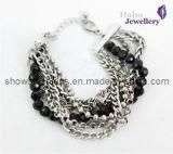 La moda de color negro cordones con pulsera chapada en Cadena latón (XBL12007)