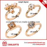4PCS/Set 18k 진주와 다이아몬드 부속품을%s 가진 금에 의하여 도금되는 결혼 반지
