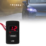 El coche auto 2.1A se dobla el montaje portuario del tablero de instrumentos del adaptador + del voltímetro del cargador del USB para Honda para la fuente de alimentación del teléfono del GPS del iPad