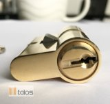 Estándar de la cerradura de puerta 5 Peones de doble cilindro de latón niquelado seguro de bloqueo de 50mm-65mm