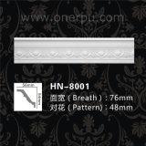 Cornisa de tallado de PU de poliuretano moldeado la decoración del techo Hn-8001