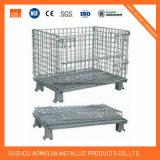 Клетка паллета хранения металла контейнера ячеистой сети сверхмощной складчатости Lockable стальная для сбывания