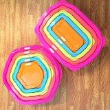 Square conteneur en plastique Five-Piece Rainbow aliments -1003