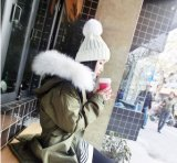 POM POM de fourrure de gros de la laine tricotés Chapeau hiver Beanie Hat
