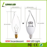 Dimmable E12 6W 2500k aquece a ampola da vela branca do diodo emissor de luz para a iluminação Home