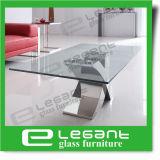 Tabella nera moderna del lato di vetro Tempered della pittura con il blocco per grafici dell'acciaio inossidabile