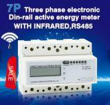 DINの柵の三相電気メートルのワット時のメートル