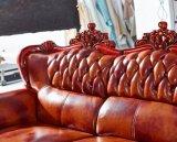Canapé d'Europe, canapé en cuir, canapé en bois, canapé d'Amérique (A37)