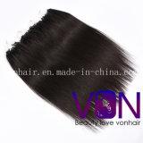 Extensão humana do cabelo do anel de Remy do Virgin brasileiro reto de seda da qualidade superior 100% micro
