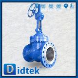 Válvula de puerta del borde de Didtek Pn100 GOST12815-80 con el engranaje de gusano