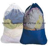 Cordon noir personnalisé personnalisé de petits sacs de maille en Nylon de blanchisserie