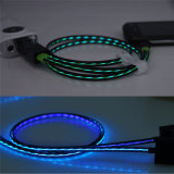 Flat Design TPE Material LED de luz intermitente Cargador USB Data Sync Cable
